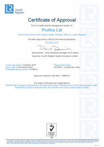 Profins ISO 9001 Certificated